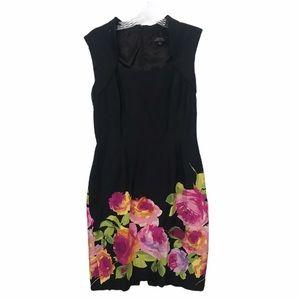 Tahari ASL Sz 6 Black Dress w/ Flowers 🌺